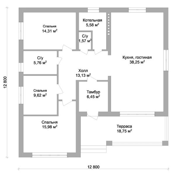 Абсолют B-103 с видеообзором. Проект одноэтажного дома с тремя спальнями