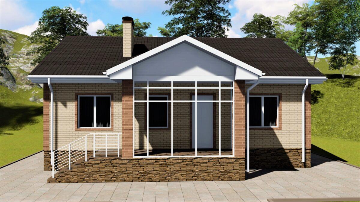 Аккорд B-022. Проект одноэтажного дома на 3 спальни, с верандой