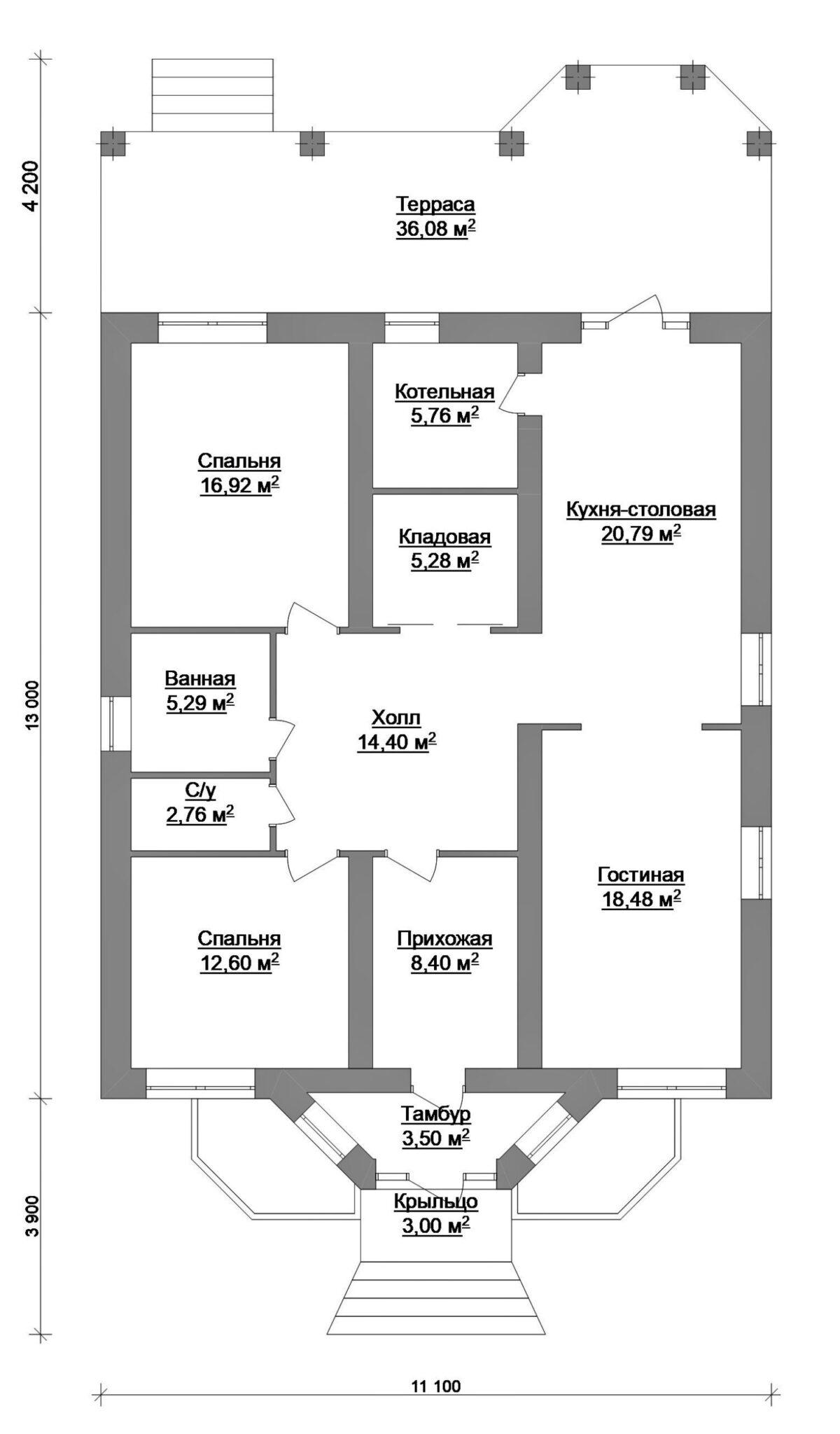 Акрополь C-036. Проект одноэтажного дома на 2 спальни, с террасой