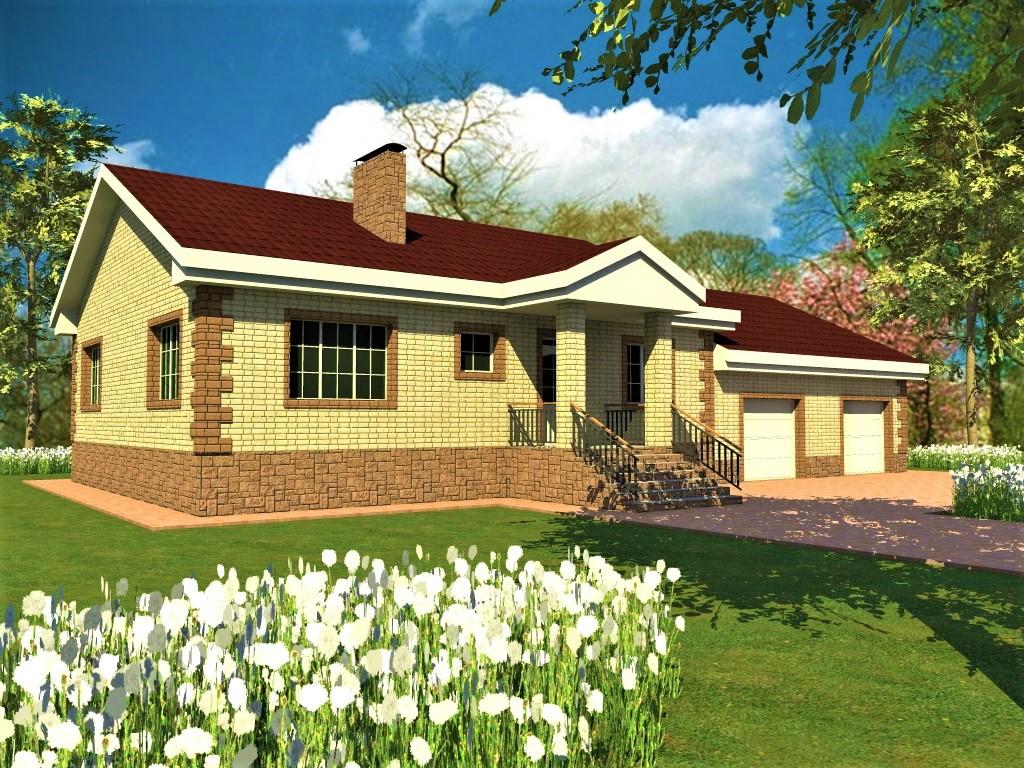 Альфард D-118. Проект одноэтажного дома на два гаража с мастерской, 3 спальни