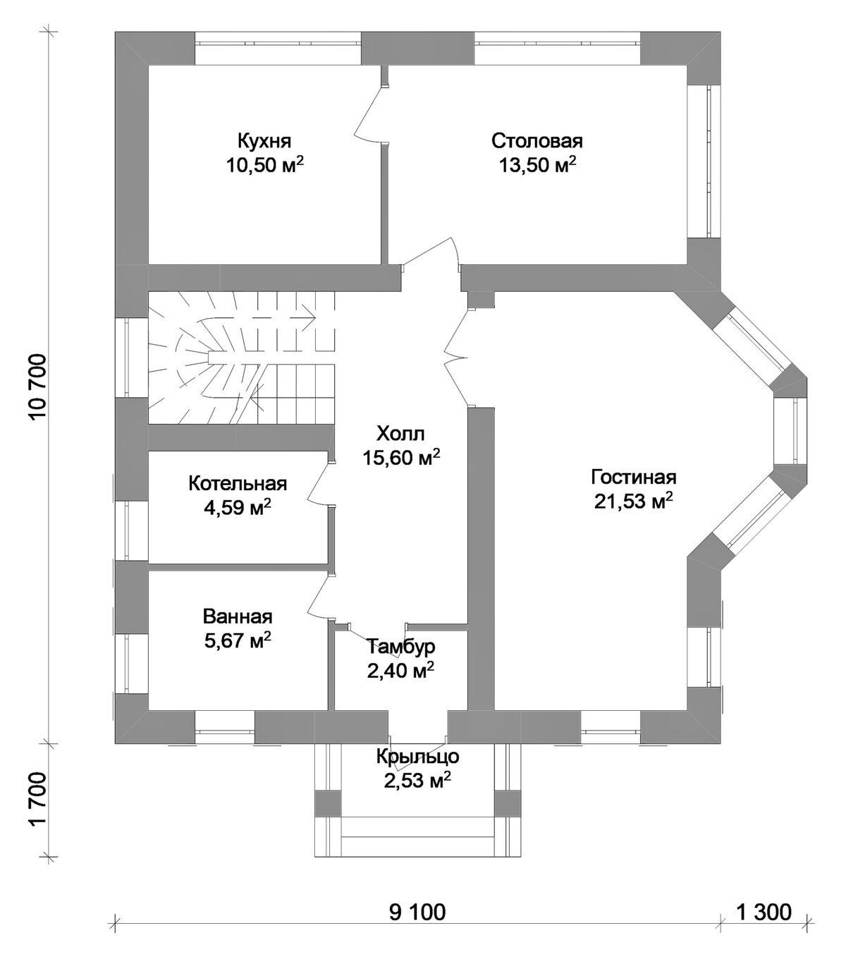 Амбар B-044. Проект мансардного дома на три спальни с балконом и эркером