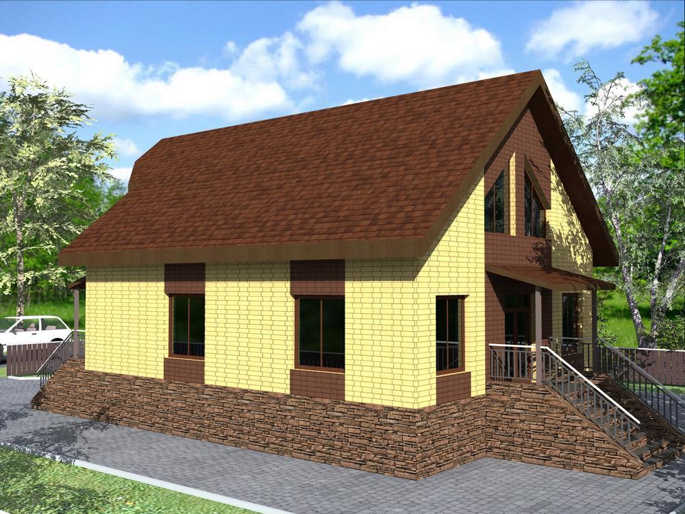 Амон Ра C-244. Проект дома с мансардой, кабинетом и тремя спальнями