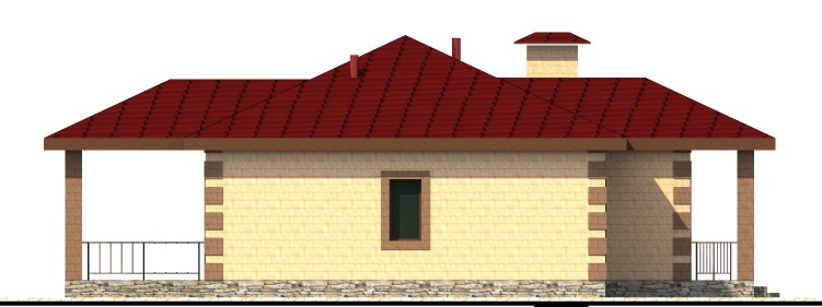 Аполинар B-049. Проект одноэтажного дома на 3 спальни, с террасой