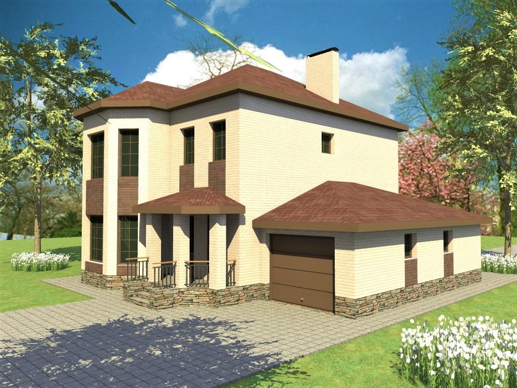 АРБАЛЕТ D-009. Проект двухэтажного дома с гаражом, террасой, на 4 спальни