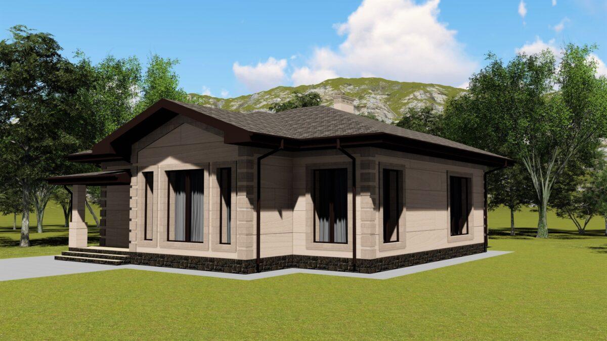 Архар B-058. Проект красивого одноэтажного дома на 3 спальни, с террасой