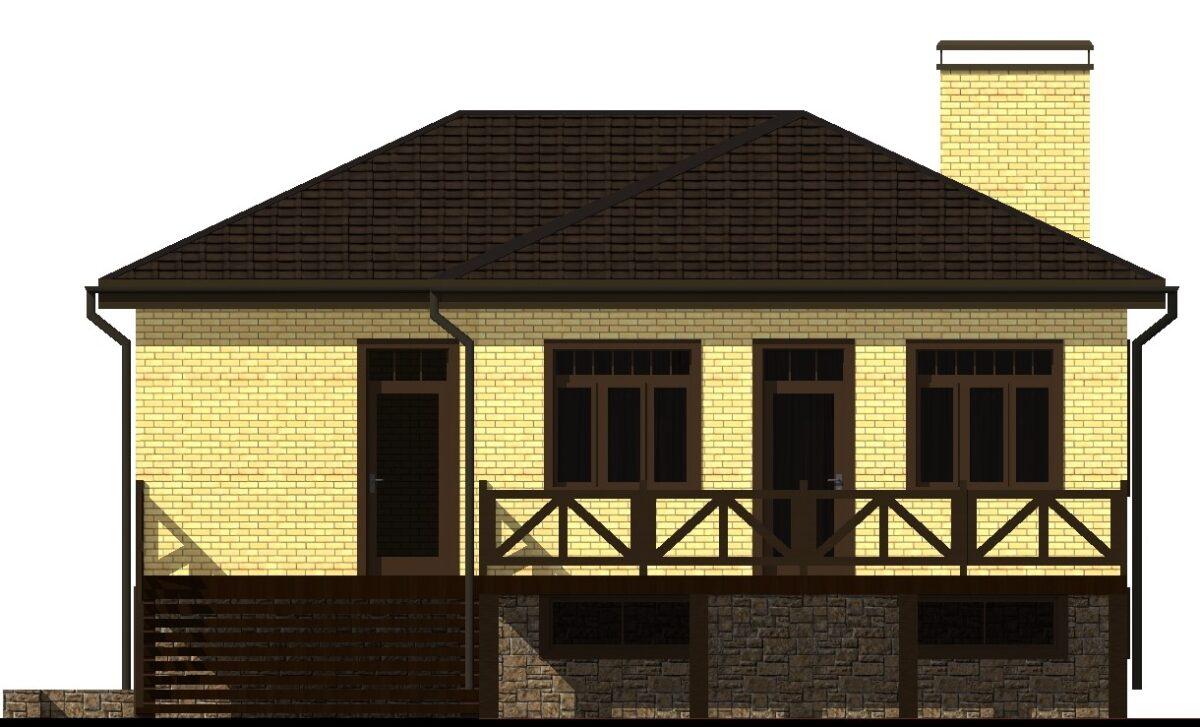Армавир D-012. Проект одноэтажного цокольного дома на две спальни с балконами