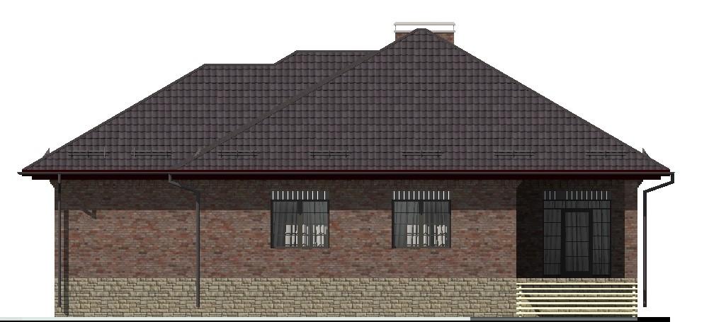 Атом F-006 с видеообзором. Проект одноэтажного дома с цокольным этажом, гаражом, террасой, на 4 спальни