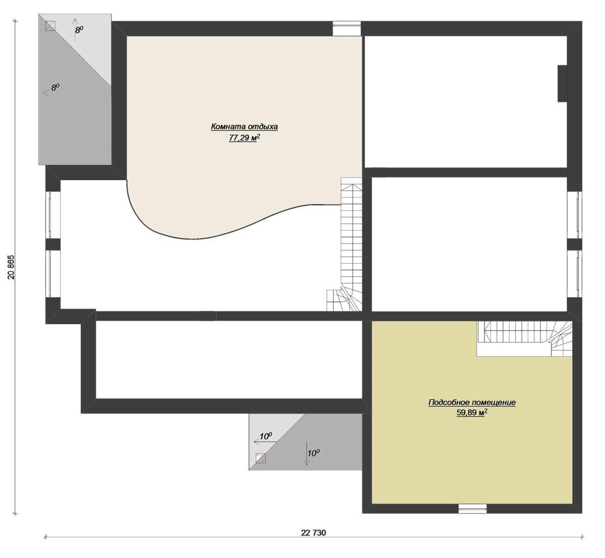 Атриум F-081. Проект большого особняка на три спальни, с гаражом, цоколем, мансардой, бассейном