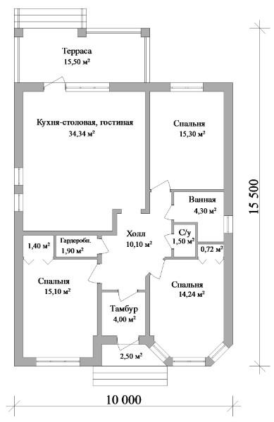 Авгит B-063. Одноэтажный дом с тремя спальнями и террасой