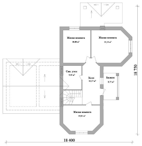 Бастион E-011. Проект мансардного дома на две семьи