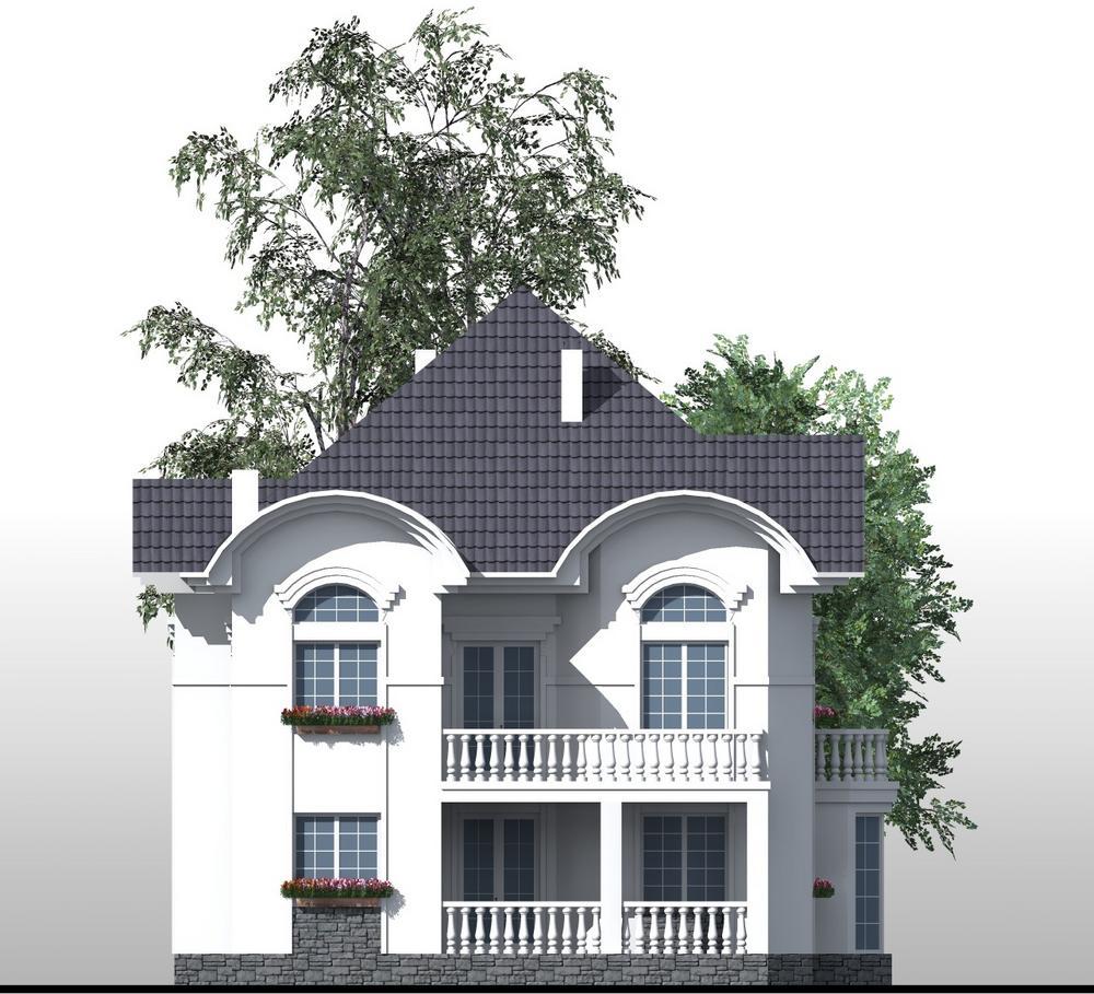 Белая береза E-059 с видеообзором. Проект двухэтажного дома на 5 спален, с террасой, балконами