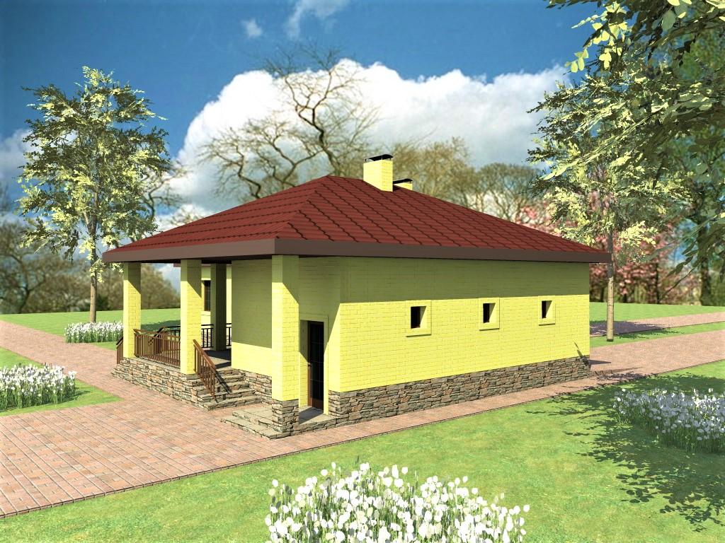Беринг C-030. Проект одноэтажного дома на 3 спальни, с террасой и пристроенным гаражом