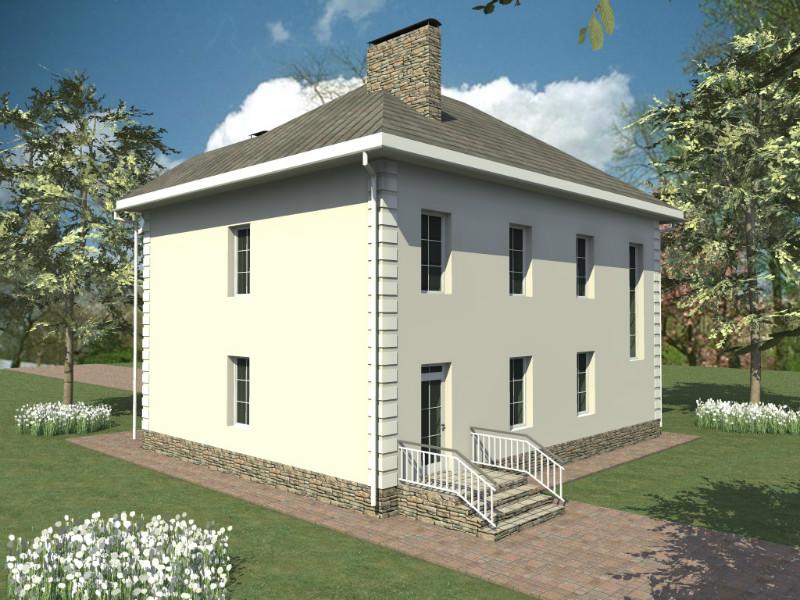 Берлиоз D-132. Двухэтажный дом с двумя эркерами и остекленной верандой