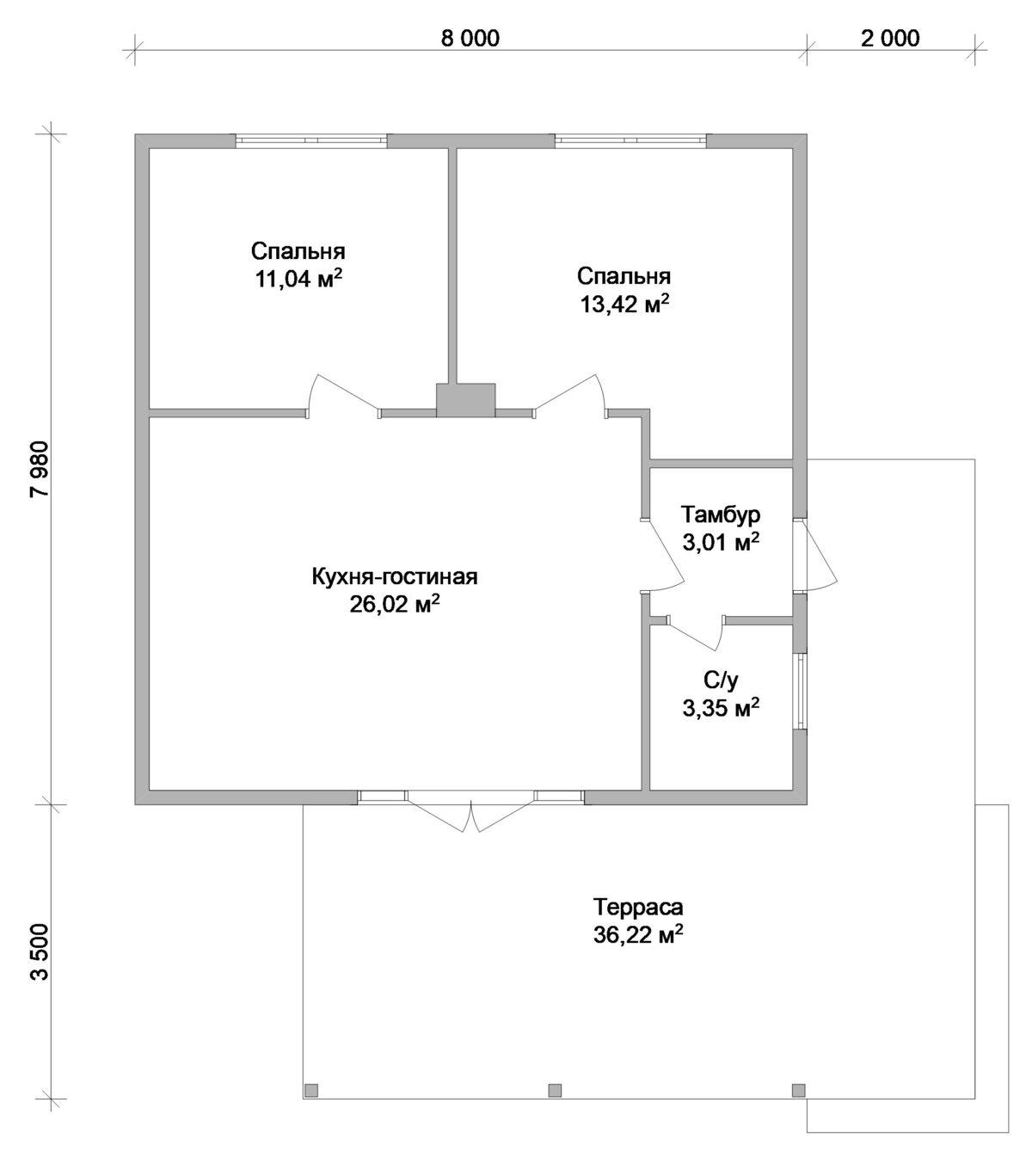 Берлога A-002 с видеообзором. Проект дачного домика с двумя спальнями и большой террасой