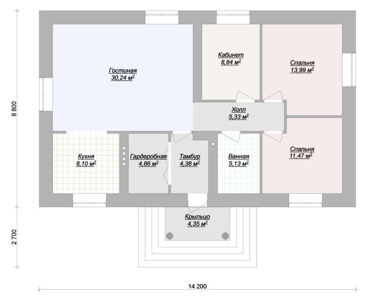 Брауни A-088. Одноэтажный дом до 100 кв. м с кабинетом, гардеробной и 2 спальнями