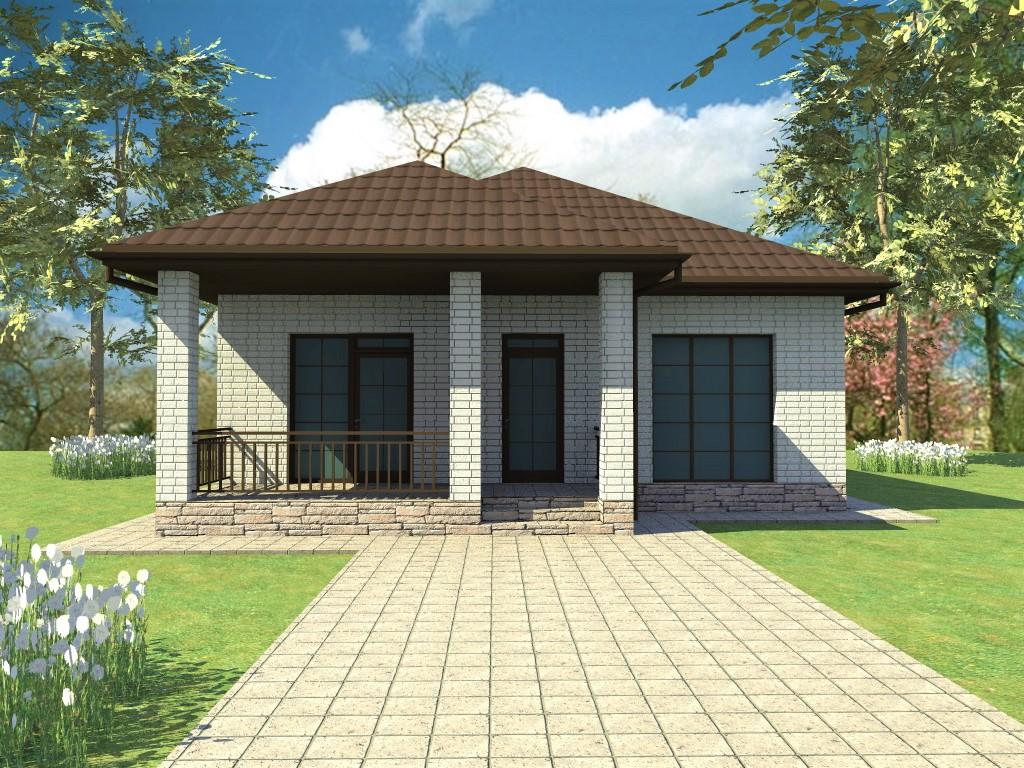 Брест B-057. Проект одноэтажного кирпичного дома на 3 спальни, с террасой