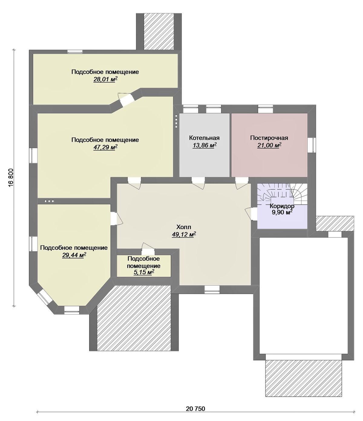 Бродвей F-082. Проект большого коттеджа с цокольным этажом, гаражом, террасой