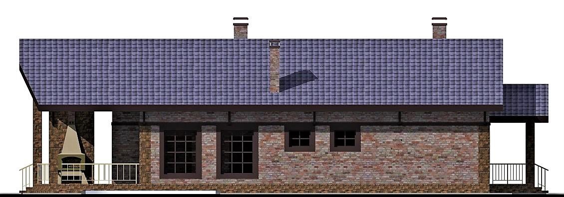 Черемуха D-119 с видеообзором. Проект одноэтажного коттеджа с террасой и тремя спальнями