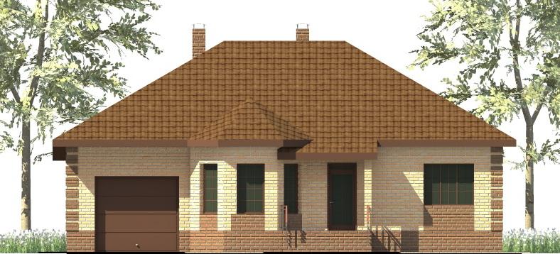 Дивизион C-019. Проект одноэтажного дома на 3 спальни, с террасой и пристроенным гаражом