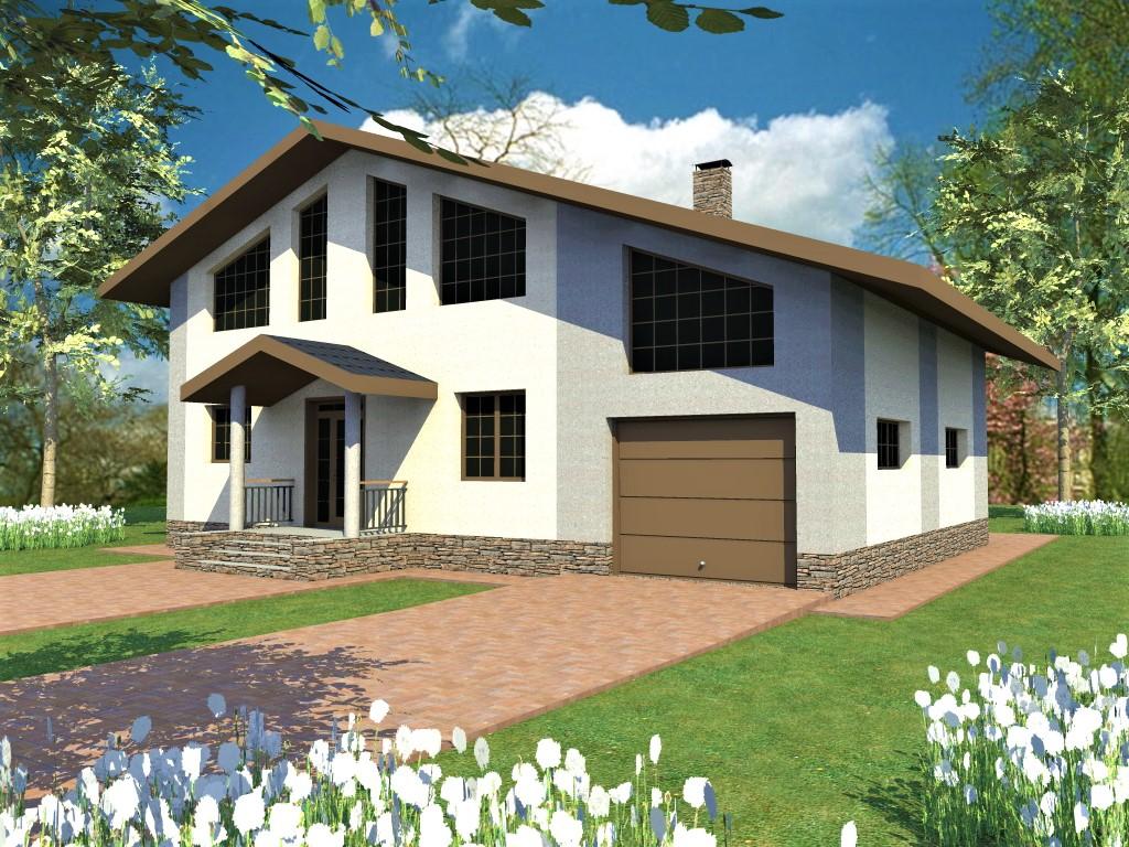 Дунай E-060. Проект одноэтажного дома с мансардой, террасой, гаражом, на 5 спален