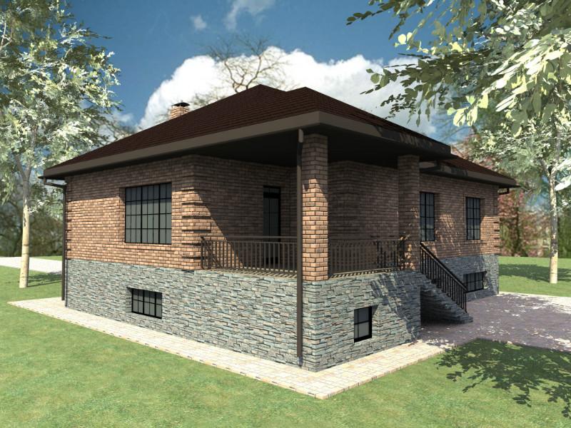 Дворянское гнездо E-014. Одноэтажный дом с цокольным этажом