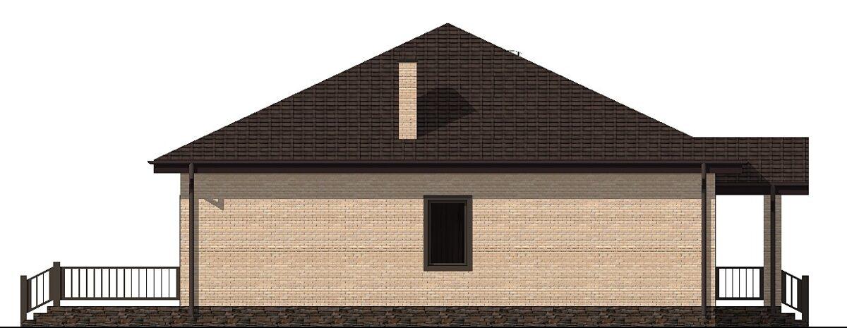 Эксперт B-287. Готовый проект одноэтажного дома с террасой, парилкой