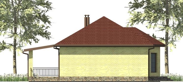 Элиос A-011. Проект одноэтажного дома с эркером, на 2 спальни