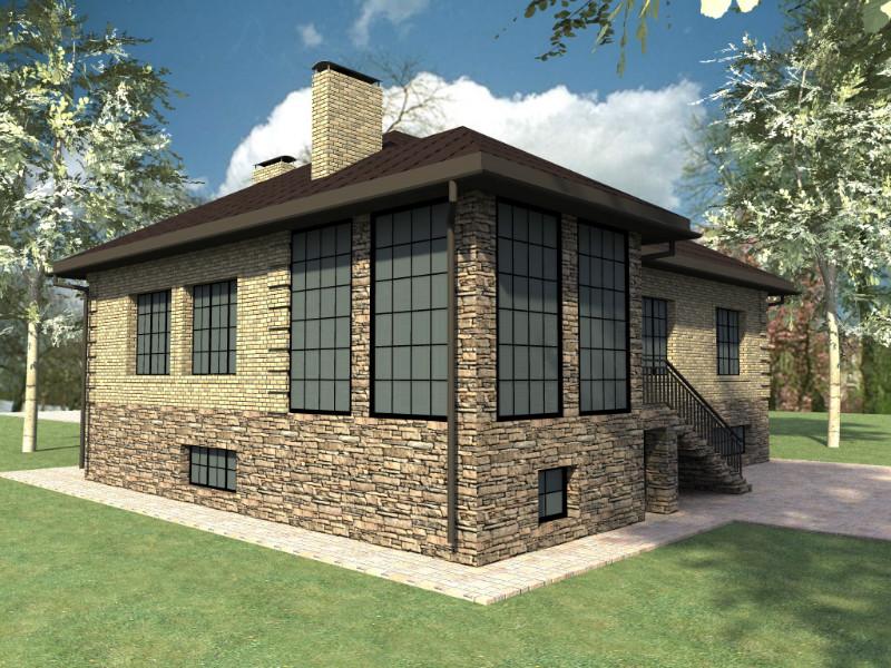 Эверест E-015. Проект одноэтажного дома с банным комплексом