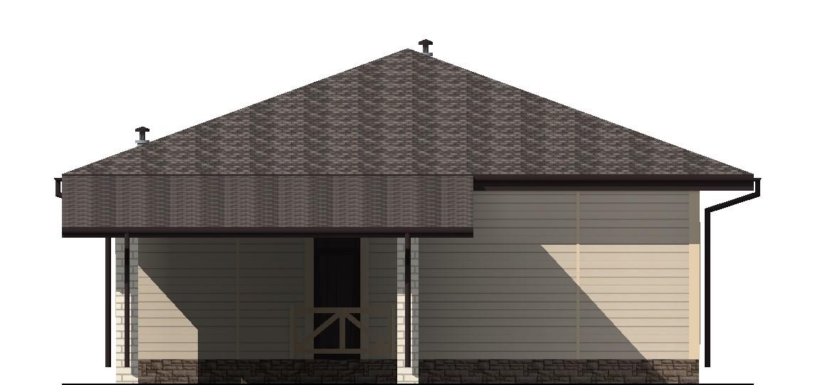Флэт C-038. Проект 1-этажного дома на 3 спальни с навесом для авто