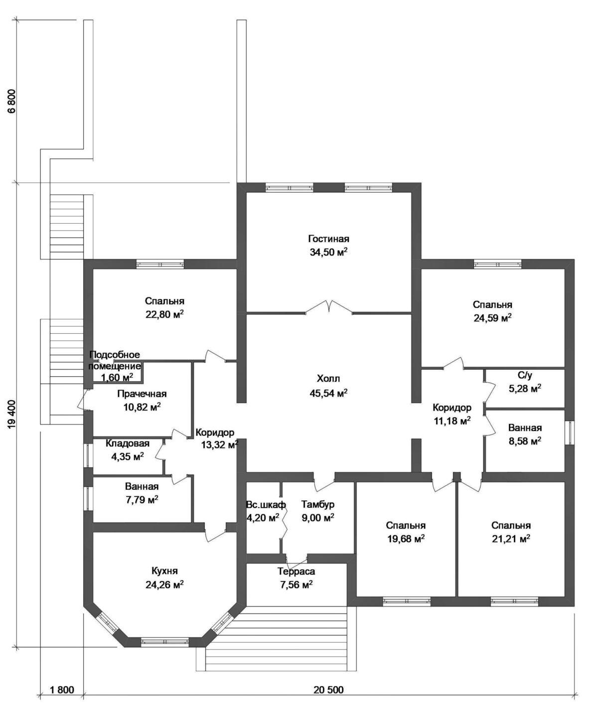 Флориан F-007. Проект одноэтажного дома с цокольным этажом, на 4 спальни