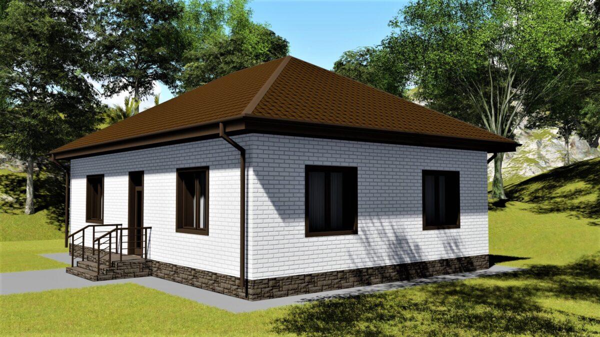 Форвард A-023. Проект простого одноэтажного дома на 2 спальни