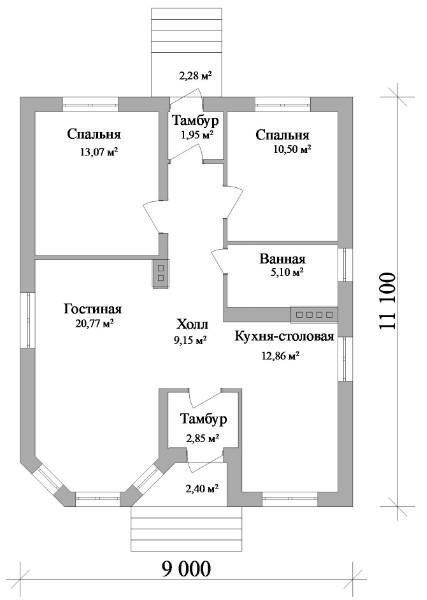 Франт А-100. Одноэтажный дом с двумя спальнями и большой гостиной
