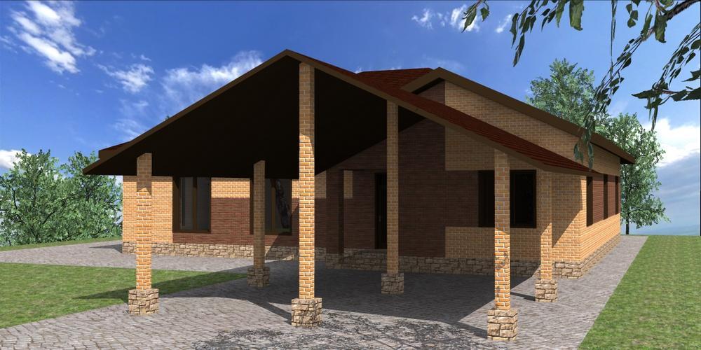 Фрида C-248. Проект одноэтажного дома на 4 спальни, с террасой и навесом для двух авто