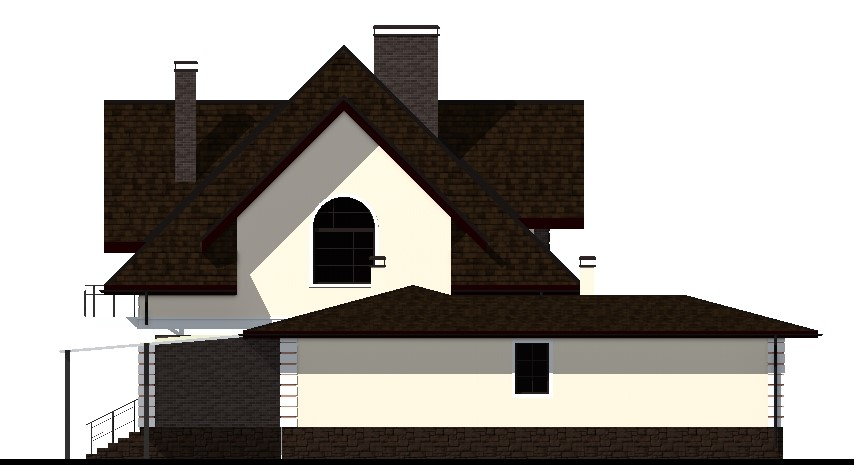 Галант F-008 с видеообзором. Проект мансардного коттеджа на 4 спальни, с навесом для авто, террасой, бассейном