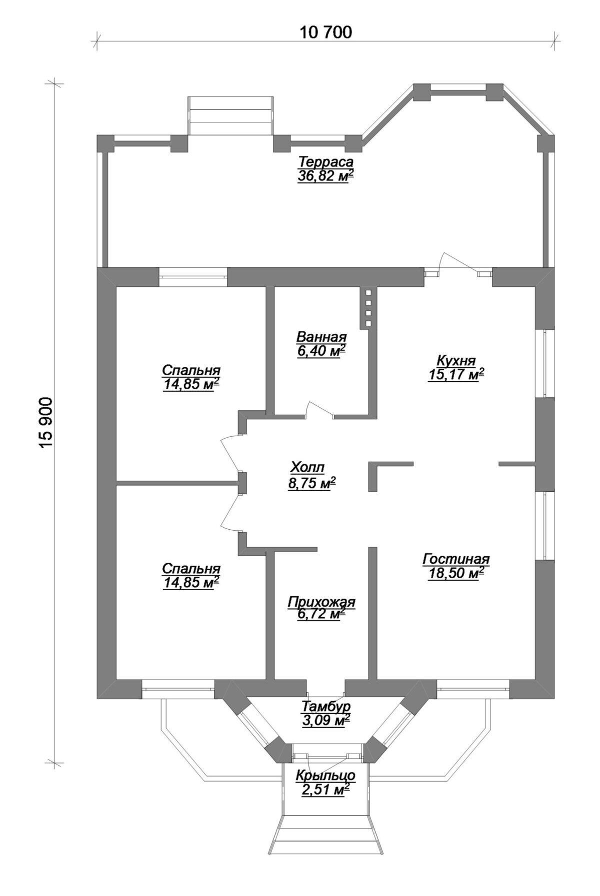 Генрих B-270 с видеообзором. Проект одноэтажного дома 16 х 11 м с террасой и двумя спальнями