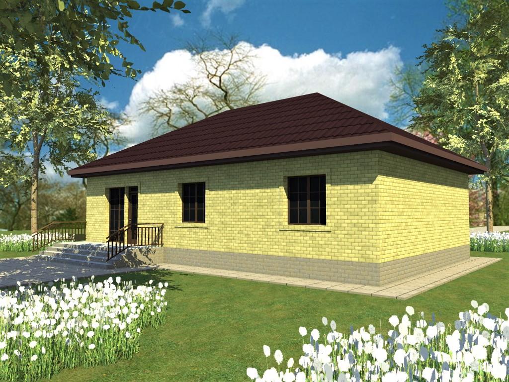 Горный Алтай B-048. Проект простого одноэтажного дома с тремя спальнями и террасой