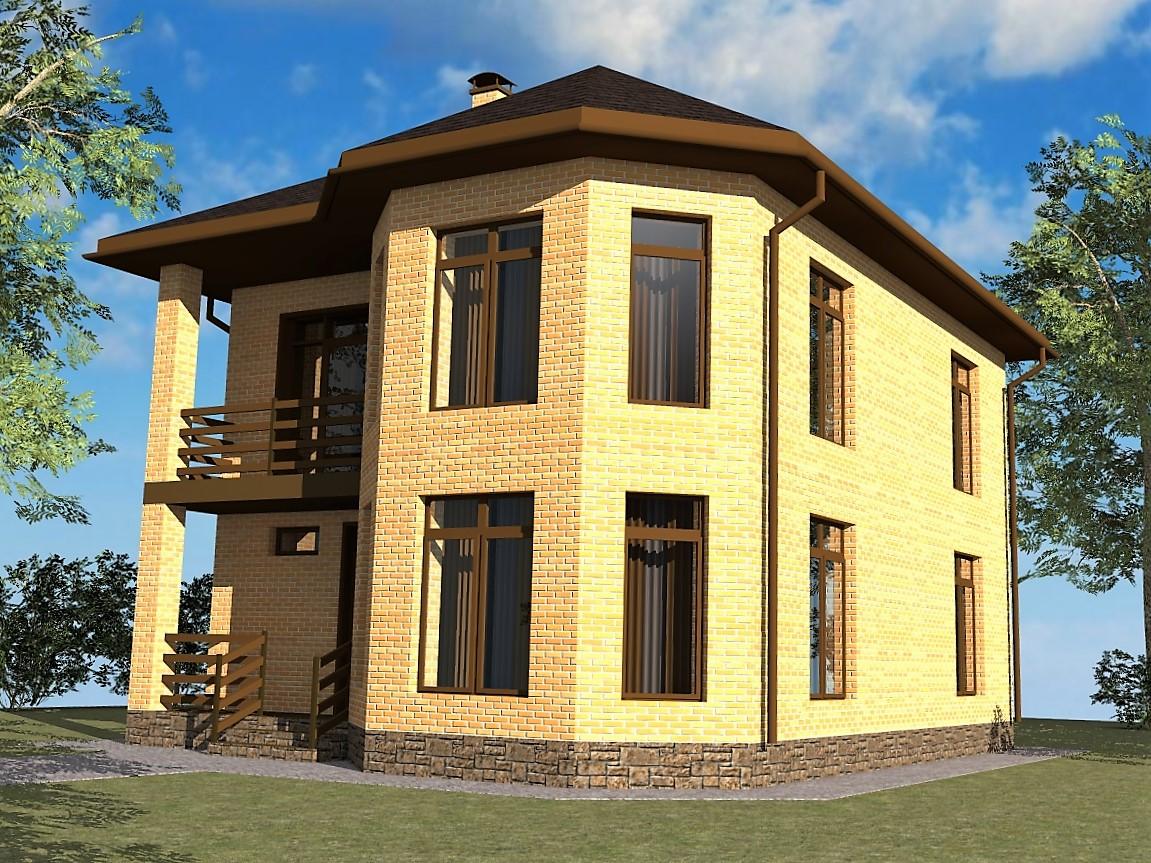 Гранада B-284. Проект 2-этажного коттеджа с тремя спальнями, эркером и балконом