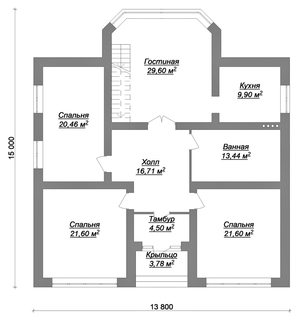 Грэм Грин C-033. Проект одноэтажного дома с комнатой на чердаке