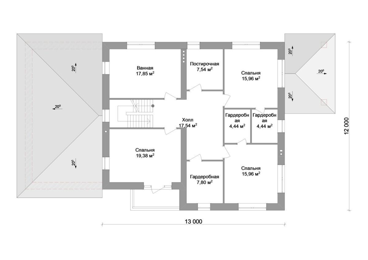 ХАРТ E-007. Проект большого двухэтажного дома на 4 спальни, с террасой и гаражом