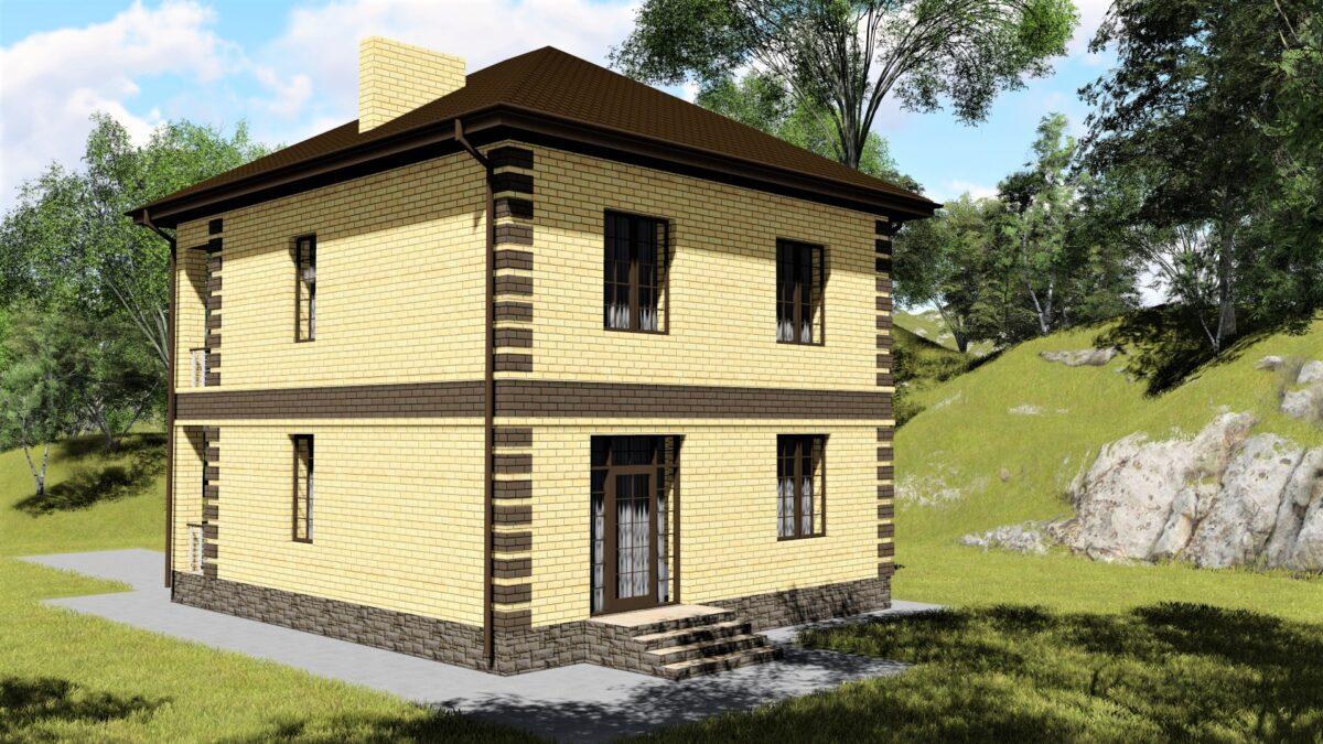 ХИВЕР B-055. Проект красивого двухэтажного дома на 3 спальни, с простой планировкой