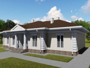 Индиго E-008. Проект большого одноэтажного дома на 5 спален, с террасой