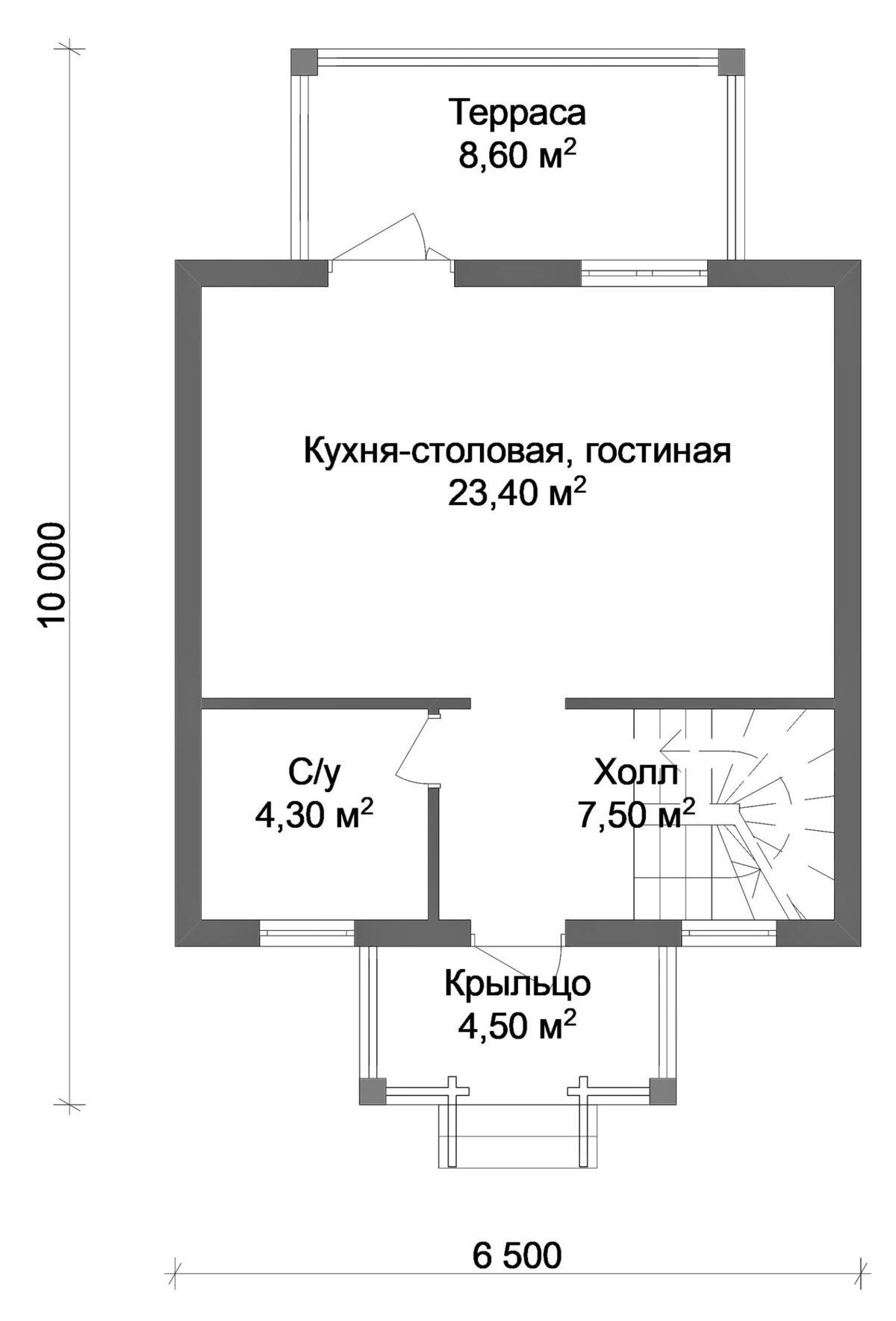 Йорген A-019. Проект небольшого мансардного дома на 2 спальни, с террасой