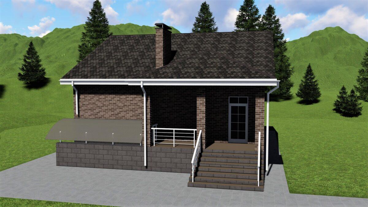 Калос С-020. Проект одноэтажного цокольного дома на 3 спальни с террасой