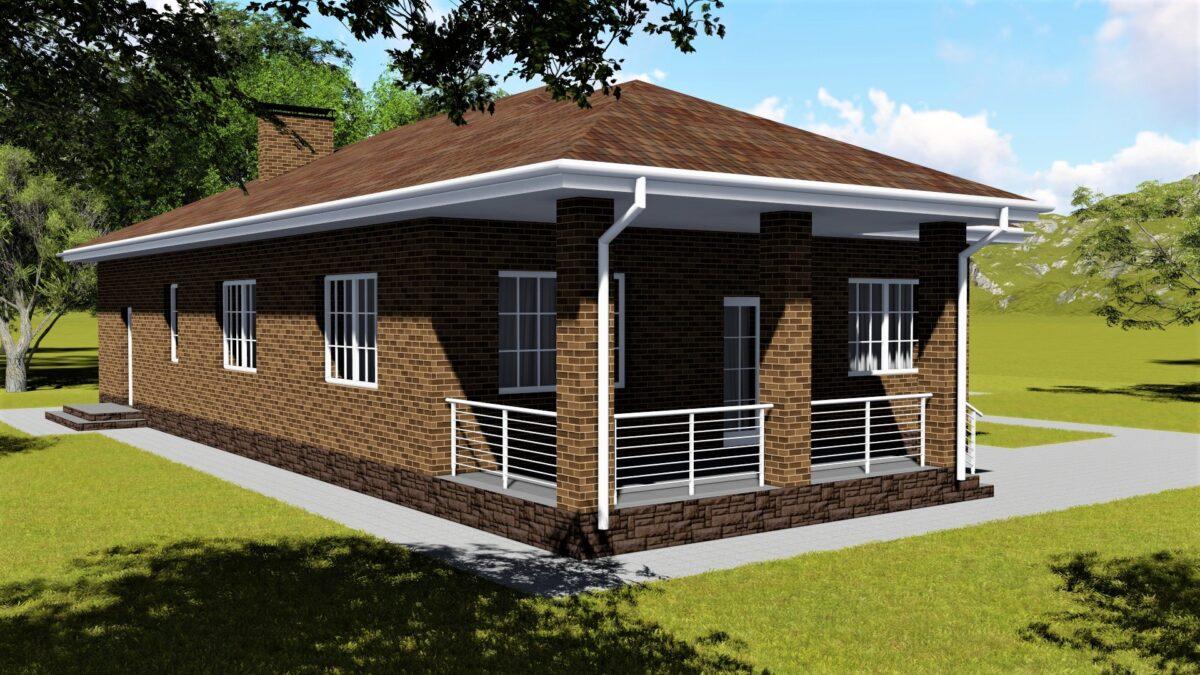 Кильпола С-025 с видеообзором. Проект одноэтажного дома на 2 спальни с террасой и гаражом