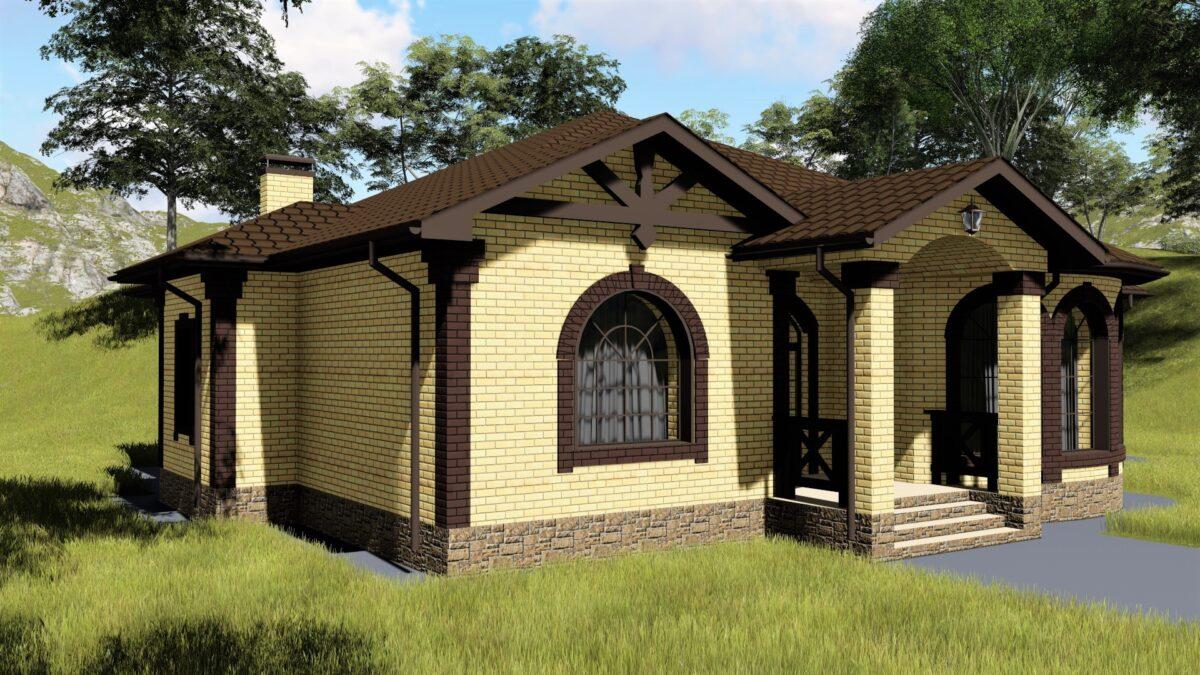 Книксен C-032. Проект просторного одноэтажного дома на 2 спальни, с террасой