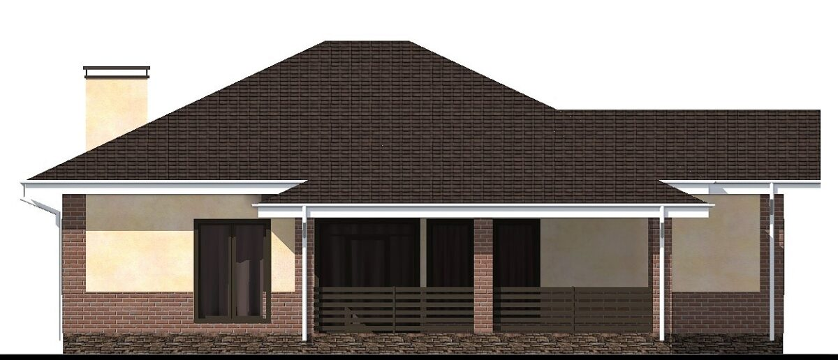 Комбо B-045. Проект одноэтажного дома до 150 м2 с террасой, на три спальни
