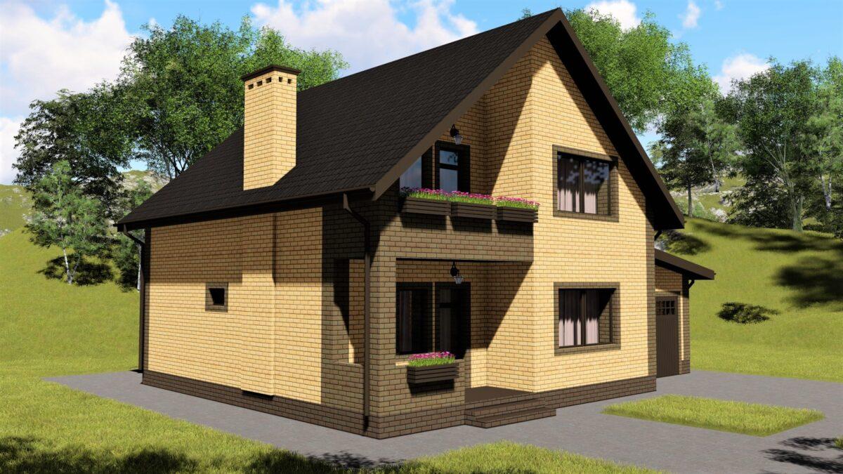 Ларса C-035. Проект мансардного коттеджа на 3 спальни, с террасой, пристроенным гаражом