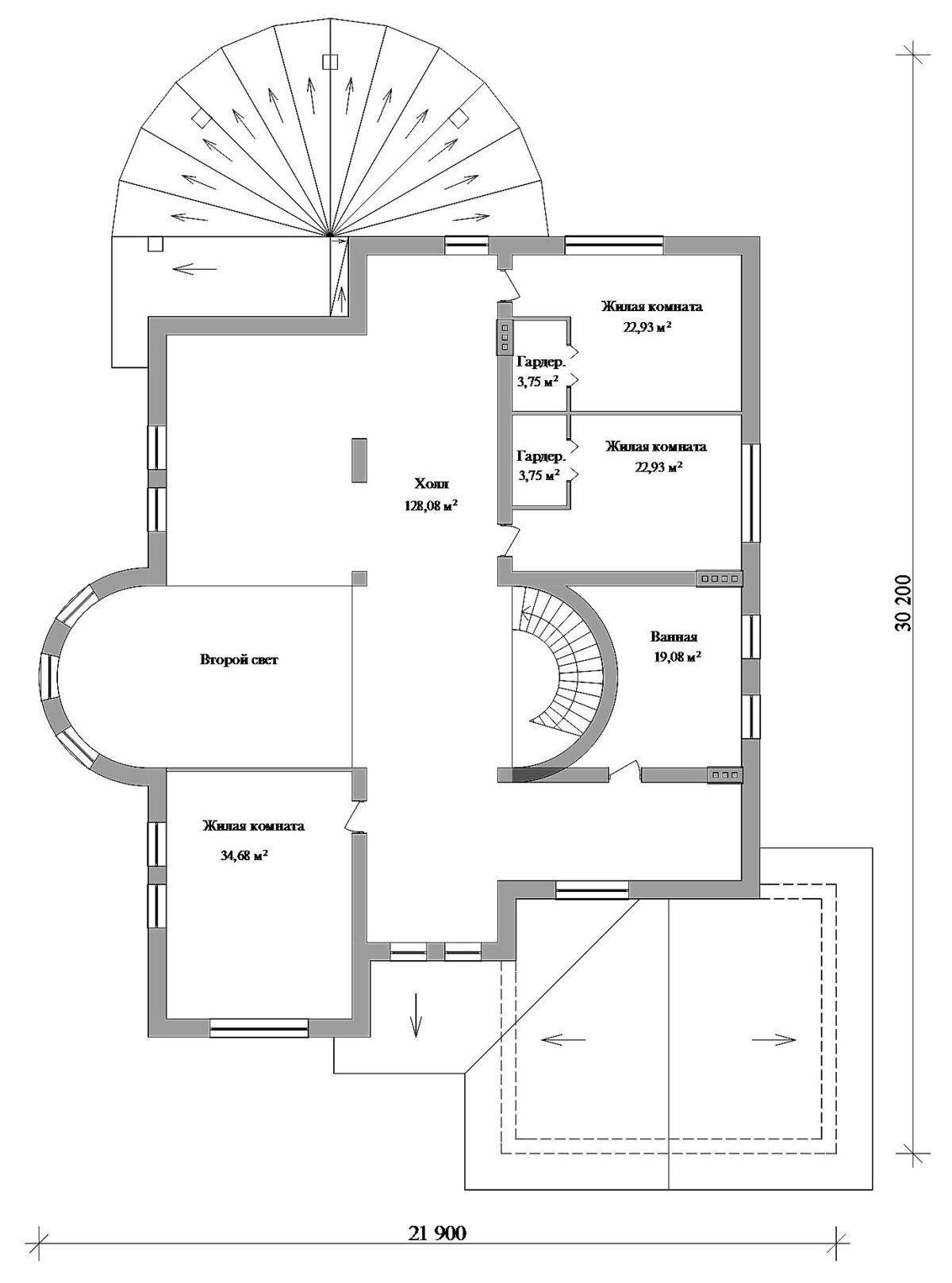 Летучий голландец F-083. Проект особняка 625 кв.м с гаражом на два авто, полукруглой террасой, четырьмя спальнями