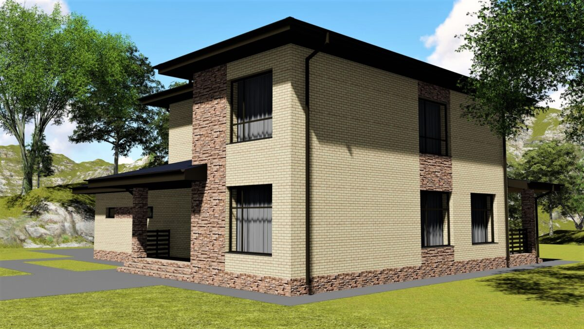 Liberty D-015. Проект двухэтажного дома на 3 спальни, с гаражом и террасой
