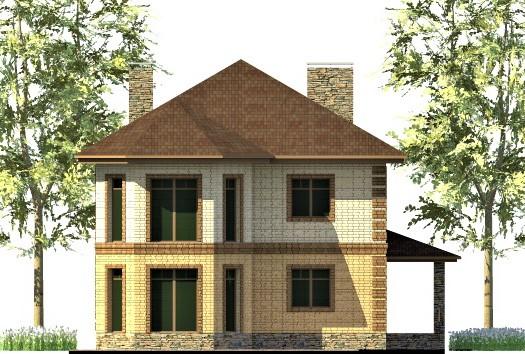 Луч света C-256. Проект двухэтажного дома 13 х 13 м с террасой, эркером на 4 спальни